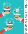 Santa claus hands holding christmas glass balls 34510701