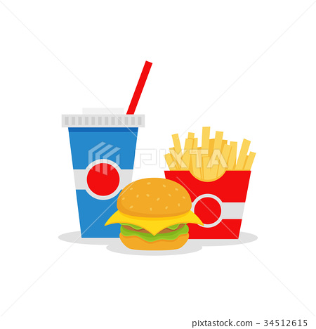 Lunch with french fries, hamburger and soda 34512615