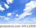 藍天天空雲彩秋天天空背景材料9月復制空間 34512906
