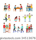 Parents Spend Time with Children Illustrations Set 34513676