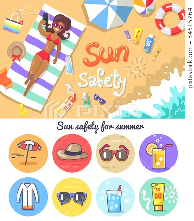 Sun Safety for Summer Composition and Elements Set 34515764
