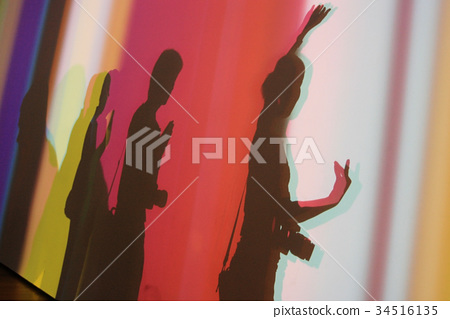shadow people make Buddhist hand sign 34516135