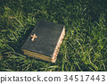 Vintage old holy bible book with christian cross 34517443