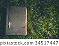Vintage old holy bible book with christian cross 34517447