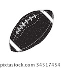 American football, rugby ball hand drawn vector 34517454