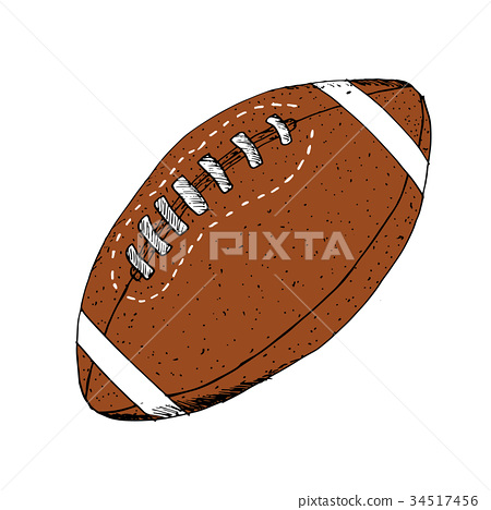 American football, rugby ball hand drawn vector 34517456
