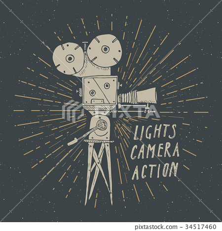 Camera vintage label, sketch retro vector 34517460