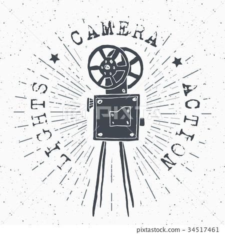 Camera vintage label, sketch retro vector 34517461