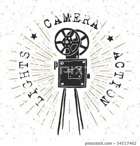 Camera vintage label, sketch retro vector 34517462