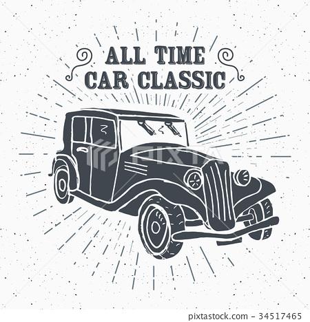Classic car vintage label, sketch retro vector 34517465
