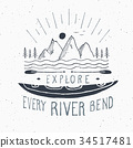 Kayak and canoe vintage label retro badge vector 34517481
