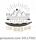 Kayak and canoe vintage label retro badge vector 34517482