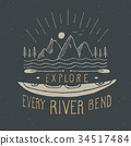 Kayak and canoe vintage label retro badge vector 34517484