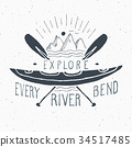 Kayak and canoe vintage label retro badge vector 34517485