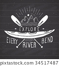 Kayak and canoe vintage label retro badge vector 34517487