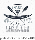 Kayak and canoe vintage label retro badge vector 34517489