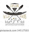 Kayak and canoe vintage label retro badge vector 34517503