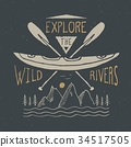 Kayak and canoe vintage label retro badge vector 34517505