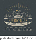 Kayak and canoe vintage label retro badge vector 34517513