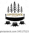 Lumberjack at work with saw Vintage label vector 34517523