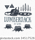Lumberjack chainsaw Vintage retro label vector 34517526