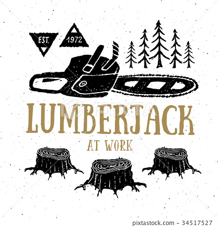 Lumberjack chainsaw Vintage retro label vector 34517527