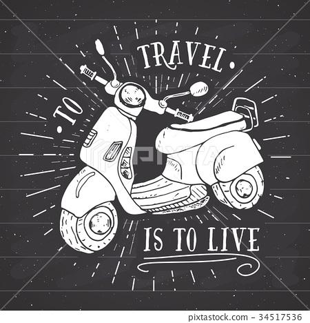Scooter motorbike Vintage label retro badge vector 34517536