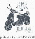 Scooter motorbike Vintage label retro badge vector 34517538