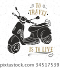 Scooter motorbike Vintage label retro badge vector 34517539