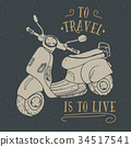 Scooter motorbike Vintage label retro badge vector 34517541