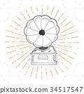 Gramophone vintage label, retro badge vector 34517547