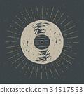 Vinyl record vintage label, retro badge vector 34517553