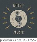 Vinyl record vintage label, retro badge vector 34517557