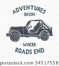 Offroad car, vintage label, retro badge, vector 34517558