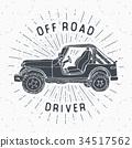 Offroad car, vintage label, retro badge, vector 34517562