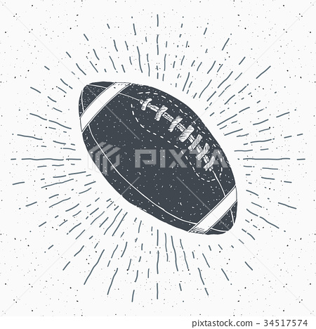 Football, rugby ball vintage retro label vector 34517574