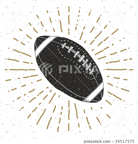 Football, rugby ball vintage retro label vector 34517575