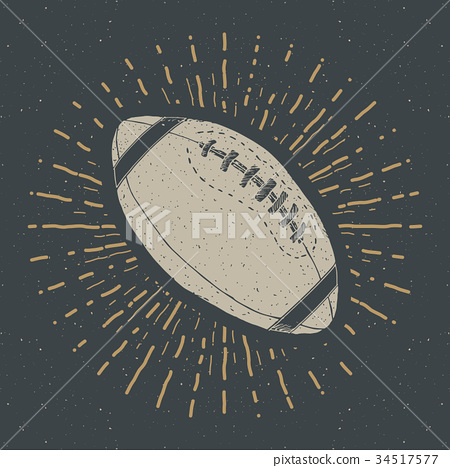 Football, rugby ball vintage retro label vector 34517577