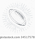 Football, rugby ball vintage retro label vector 34517578