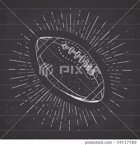 Football, rugby ball vintage retro label vector 34517580