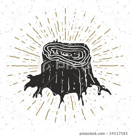 Tree stump vintage label sketch retro badge vector 34517583