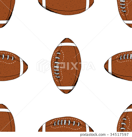 Football, rugby ball seamless pattern vector 34517597