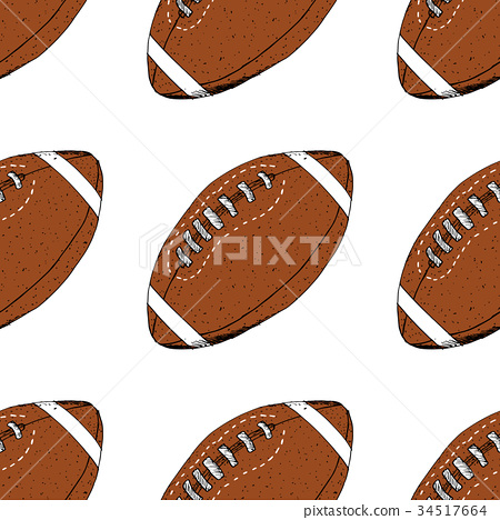 Football, rugby ball seamless pattern vector 34517664