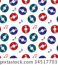 Vinyl record vintage seamless pattern vector  34517703