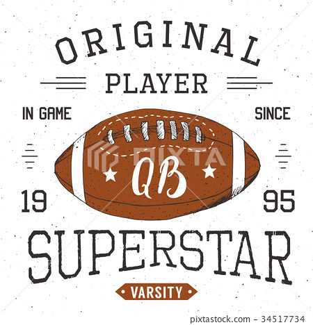 T-shirt print design Football superstar vector 34517734
