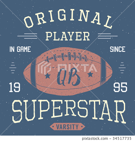 T-shirt print design Football superstar vector 34517735