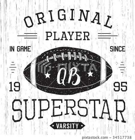 T-shirt print design Football superstar vector 34517738