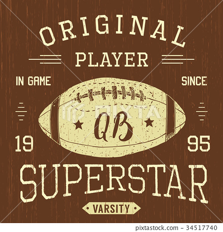 T-shirt print design Football superstar vector 34517740