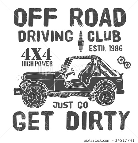 T-shirt design, offroad car driving club vector 34517741