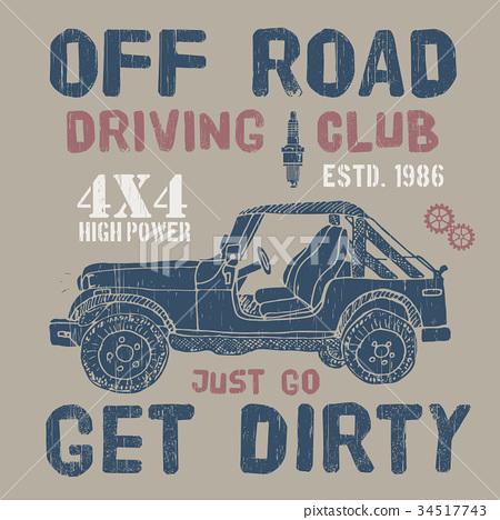 T-shirt design, offroad car driving club vector 34517743